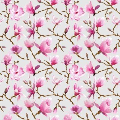 Fototapeta Magnolia Květiny pozadí - Vintage bezešvé vzor