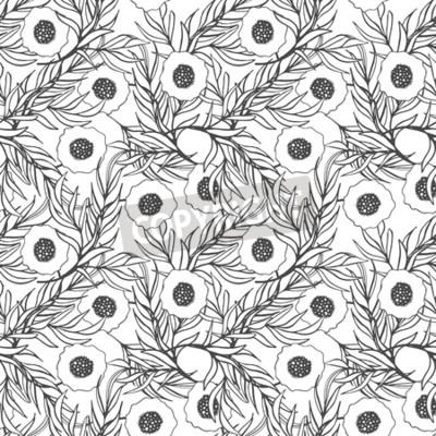 Mak Kvetiny Bezproblemove Vzor Vektor Rucne Malovana Doodle