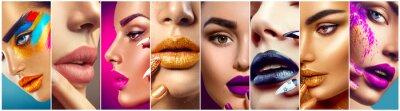 Fototapeta Make-up koláž. Kosmetické make-up umělce nápady. Barevné rty, oči, oční stíny a nail art