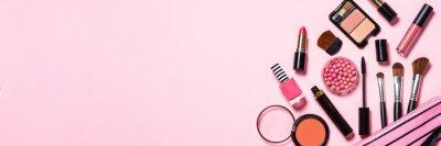 Fototapeta Makeup professional cosmetics on pink background.