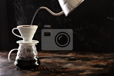 Fototapeta Making pour over coffee