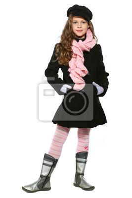 Fototapeta Malá krásná dívka v podzimní oblečení, izolované