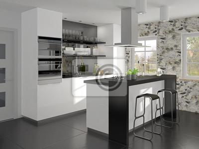 Malá Kuchyně S Ostrůvkem A Snídaně Bar Fototapeta Fototapety