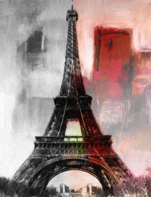 Fototapeta Malba Paříž Eiffelova věž Eiffelova věž obrázek Art olejomalba