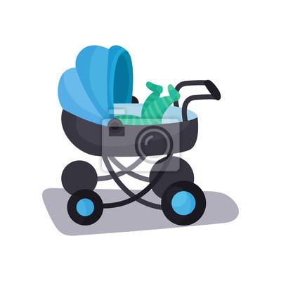 Male Dite Lezici V Modrem Modernim Detskem Kocarku Prepravu