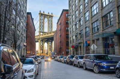 Fototapeta Manhattan Bridge z Brooklynu na zimní odpoledne
