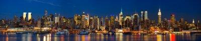 Fototapeta Manhattan skyline panorama v noci, New York