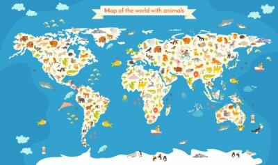 Fototapeta Map of the World se zvířaty. Krásné barevné vektorové ilustrace. Školka, pro dítě, děti, děti a všechny lidi