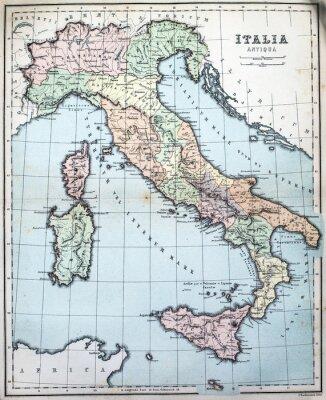 Fototapeta mapa 19. století římské Itálie