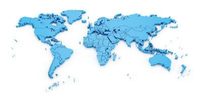 Fototapeta mapa detail svět s národními hranicemi, 3d render