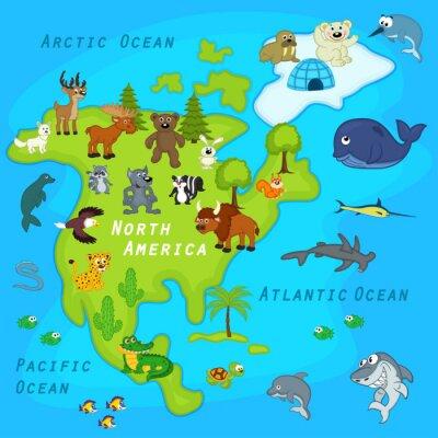 Fototapeta mapa Severní Ameriky se zvířaty - vektorové ilustrace, eps
