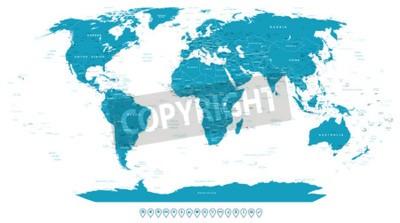Fototapeta Mapa světa a navigační ikony - ilustrace.