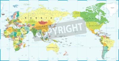 Fototapeta Mapa světa bílá modrá, Asie v centru vektoru.