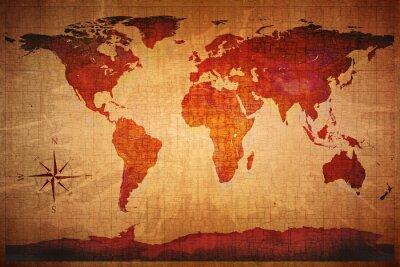 Fototapeta Mapa světa Grunge stylu
