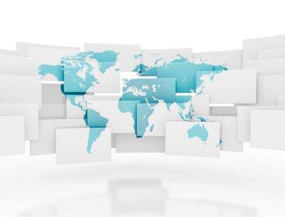 Fototapeta Mapa světa na 3d náměstí