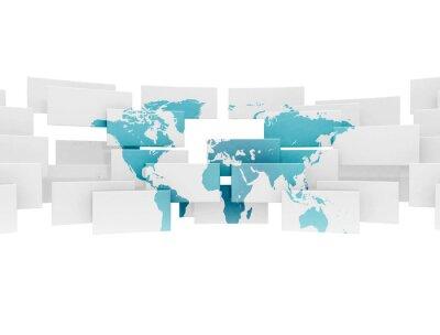 Mapa světa na 3d sqaures