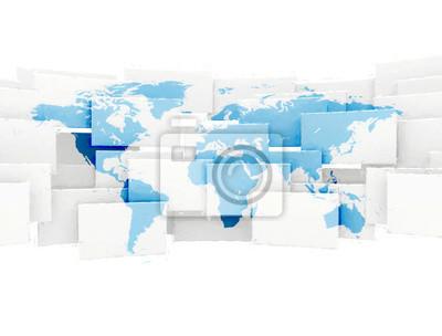Mapa světa na bílé čtverečky, samostatný. Digitální efekt malování