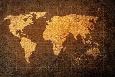 Fototapeta mapa světa na pozadí grunge
