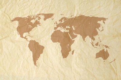 Fototapeta Mapa světa na Vintage yallow papír textury pozadí