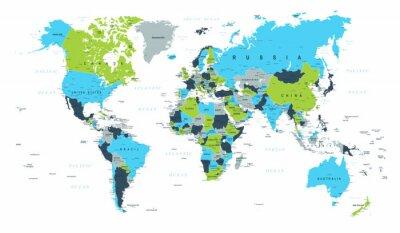 Fototapeta Mapa světa Politická Modrá Zelená Hnědá Vektor