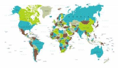 Fototapeta Mapa světa politická modrá zelená šedá vektor
