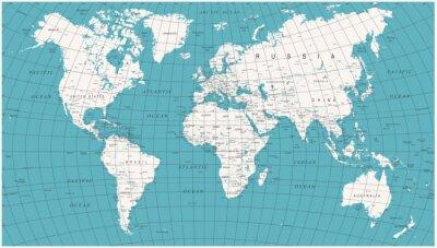 Fototapeta Mapa světa Politická Vintage Vector