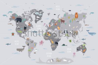 Fototapeta Mapa světa s divokými zvířaty žijícími na různých kontinentech a oceánech. Roztomilé karikaturní savci, plazi, ptáci, ryby obývající planetu. Plochý barevné vektorové ilustrace pro vzdělávací plakát