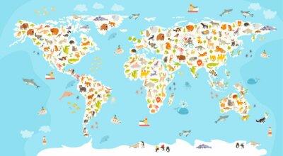 Fototapeta Mapa světa savec. Krásná veselá barevné vektorové ilustrace pro děti a děti. Školka, dítě, světadíly, oceány, tažené, Země