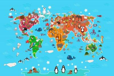 Fototapeta Mapa světa se zvířaty. Opice a ježek, medvěd a klokan, zajíc vlk panda a tučňák a papouška. Zvířata mapa světa vektorové ilustrace v kreslený styl
