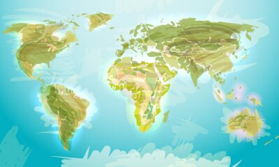 Fototapeta Mapa světa ve stylu grunge