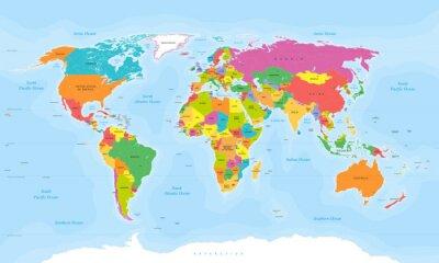 Fototapeta Mapa světa vektor. etikety anglický / USA