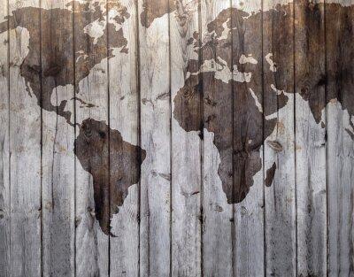 Fototapeta Mapa světa vypracovány na plátně imitace dřeva