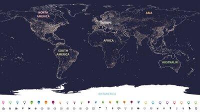 Fototapeta mapa světových měst světla s označenými kontinenty v různých barvách a ikonách umístění