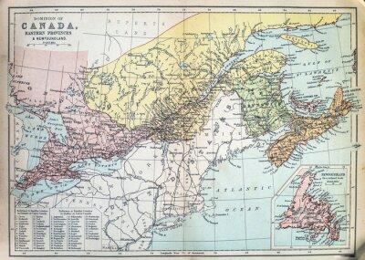 Fototapeta Mapa východních provincií Kanady