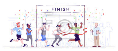 Fototapeta Marathon finish flat vector illustration. City footrace. Runners in final of competition. Endurance contest. Joggers cross finish line isolated cartoon character on white background