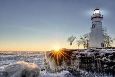 Fototapeta Marblehead Lighthouse zimní slunce