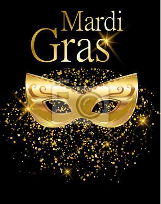 150da5a2d Fototapeta Mardi Gras zlatá karnevalové masky pro plakát, blahopřání,  pozvání strany, banner nebo