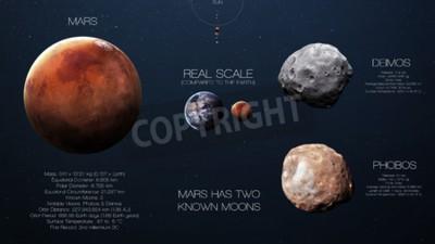 Fototapeta Mars - vysoké rozlišení infografiky o sluneční soustavy planety a jejích měsíců. Všechny dostupné planety.