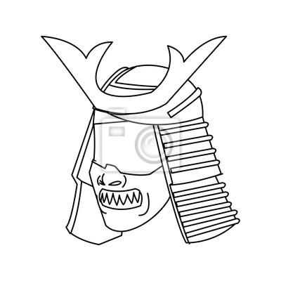6ff514d19c7 Fototapeta Maska samuraj helma bojovník obrázku obrys vektorové ilustrace