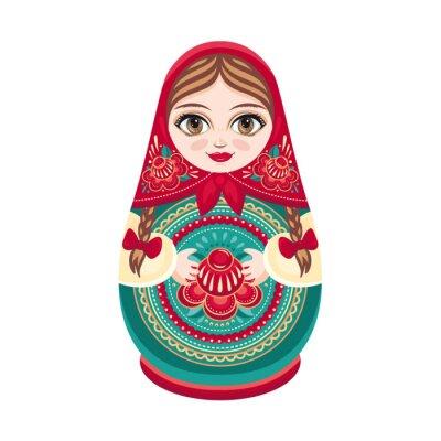 Fototapeta Matryoshka. Ruská lidová dřevěná panenka. Bábuška panenka. Vektorové ilustrace na bílém pozadí