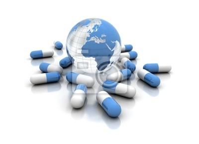 Medicína prášky a zeměkoule izolovaných na bílém