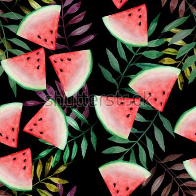 Fototapeta Meloun plátek s tropickými listy bezešvé vzor na černém pozadí, akvarel malba, design pro radost koncept letní dovolenou.