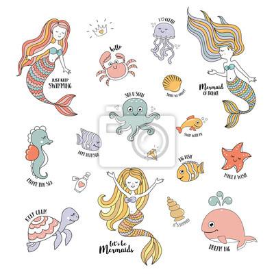 Mermaid Kreslene Postavicky S Roztomily Morskych Zivocichu Vektorove