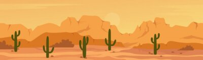 Fototapeta Mexican Texas or Arisona desert nature wide panorama prairie scene landscape