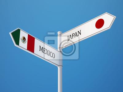 Mexiko. Japonsko Sign Vlajky Concept