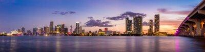 Fototapeta Miami city panorama panorama za soumraku