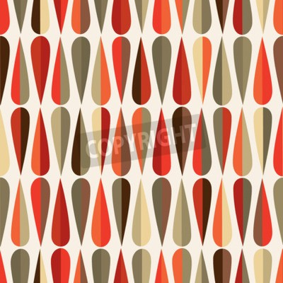 Fototapeta Mid-století moderní styl retro bezešvé vzor s tvary kapka v různých barevných odstínech, abstraktní opakující pozadí pro všechny webové i tiskové účely.