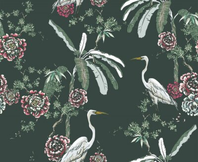 Fototapeta Midnight Chinoiserie Floral Seamless Pattern, White Cranes in Palms and Roses on Dark Background, Chinese Wallpaper Design Flower Plants Jungle Forest, Tropical Birds