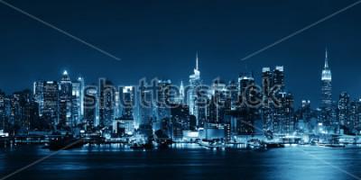 Fototapeta Midtown Manhattan panorama v černé a bílé za soumraku panorama nad řekou Hudson