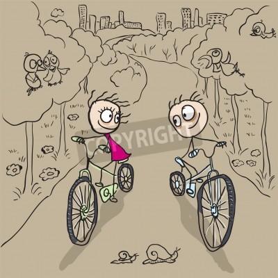 Milujici Par Muz A Zena Na Jizdni Kola Vektorove Kreslene Ilustrace